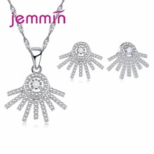 Jemmin Women Girls Best Gift Personalized Jewelry Sets Irregular 925 Sterling Silver Necklace Pendant Earrings Set Coconut Tree(China)