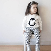 Factory Price Spring Autumn Baby Girls Boys Lovely Penguin Outfits Sweatshirt Pants 2PCS Set Clothes Top Quality