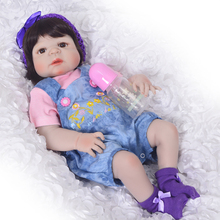 New Arrival Baby Girl Reborn Dolls Kids Toy Full Silicone Vinyl 23'' 57 cm Real Life Bebe Reborn Alive Doll NPK COLLECTION Hot(China)