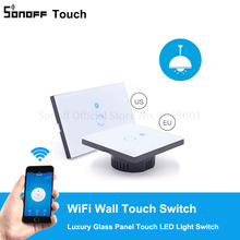 Sonoff Touch EU US Plug Wifi Wall Touch Light Switch Glass Touch Panel Lamp Bulbs LED Lights Switch Works With Alexa Google Home