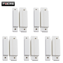 5pcs/lot Wired Door Window Magnetic Sensor Switch Work With PTSN and GSM Alarm System(China)