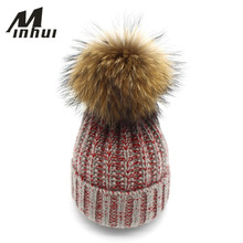 Minhui New Fashion Angora Wool Hat Women Real Fox Fur and Mink Fur Pompom Hat Beanies Female Caps
