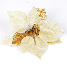 10Pcs/lot 22cm shiny dusting hollow out Christmas Flower artificial flower for Christmas Tree vine garland party decoration(China)