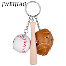 JWEIJIAO DIY Simulation Baseball Keychain Key Buckles Soft Leather Baseball Charms Key Chain Fans Gifts Sports Souvenirs YY2011(China)