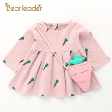 Bear Leader Baby Dresses 2017 New Autumn Baby Girls Clothes Cute Carrot Printing Princess Newborn Dress Suit For 6M-24M(China)