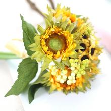 SP 15  Mosunx Business 2016 Hot Selling 5 Heads Beauty Fake Sunflower Artificial Silk Flower Bouquet Home Floral Decor