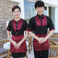 Wholesale Hotel Work Clothing Unisex Women and Mens Short Sleeve Hotel Cafe Hot Pot Restaurant  Cheap Staff Uniforms