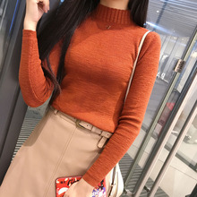 2017 Autumn /Winter New Fashion Half Turtleneck Thick Knitted Sweater Render 6 Colors Women Pullovers Unlined Upper Garment(China)