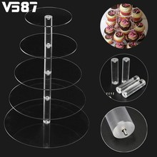 Acrylic Clear Cake Stand Round Cup Cupcake Holder Wedding Birthday Party Events Dessert Sugarcrafts Decoration 3/4/5/6 Tiers(China)