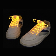 100 Pairs Led Light Luminous Shoelace Glowing Shoe Laces Flashing Colored Neon Shoestrings Chaussures Party Decoration ZA1276(China)