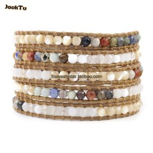 2013 two color mother of pearl with mixed stone 5 wrap bracelet summer jewelry(China)