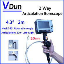 5.5mm 2 Way Direction 2M Rotational Inspection Camera  Industry Endoscope Video Borescope 4.3inch LCD  USB  SD Card ,VD-2ED55