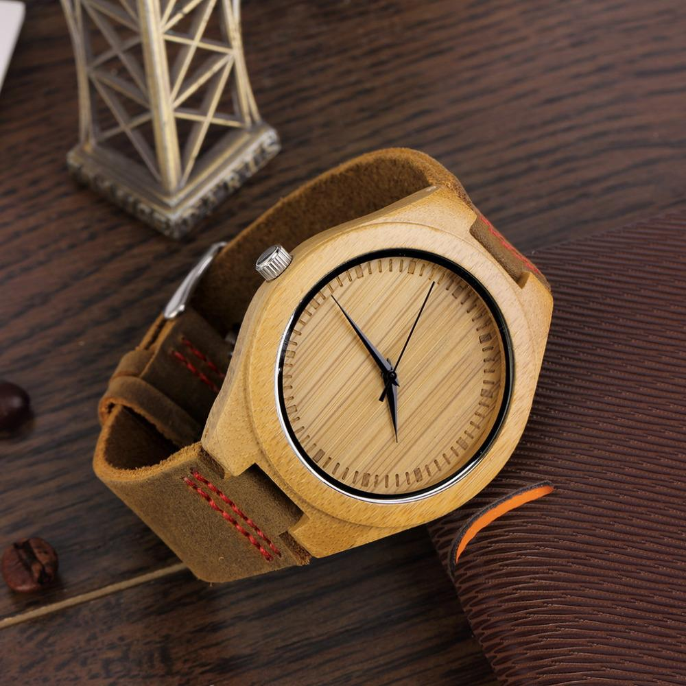 Fashion Men's Watches Bamboo Wood Wooden Watch Genuin &