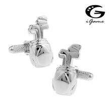 iGame Factory Price Retail Men's Cufflinks Brass Material Silver Color Golf Bag Design Cuff Links Free Shipping