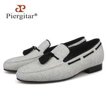 Piergitar 2018 handmade Men Velvet shoes Black tassel Men party and wedding loafer male Fashion Smoking slipper Size US 4-17(China)