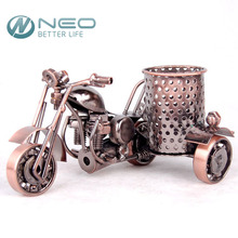 NEO Metal Crafts Motorcycle Model Retro Motorbike Model Pencil Cup Antique Motor Bicycle Pen Container Holder Home Office Decor
