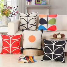Free shipping/contemporary and contracted plant leaves cotton pillowcase car sofa cushion for leaning on of 45 * 45 No Inner