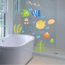 Lovely Tropical Cartoon Fish Sea Bubble Ocean World Removable Wall Sticker Decal Washroom Baby Room Decor(China)