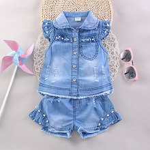 Girls Summer Sets 2017 New Fashion Girl Clothing Brands Baby Clothes Kids Cowboy Suit Single Breasted Coat+Shorts 2 Pieces