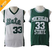 High Quality Magic Earvin Johnson 33# Michigan State College Green and White Throwback Basketball Jerseys Free Shipping(China)