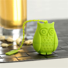 Tea Strainer Teapot Mesh For Teapot Silicone Owl Shape Tea Infuser Filter Sloth Coffee Accessories Easy Clean 5.5*4.2*3cm(China)