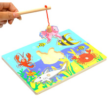 Hot Fun Fishing Game 18*13cm Kids Fishing Game Wooden Ocean Jigsaw Puzzle Board Combo Magnetic Rod Toys P25(China)