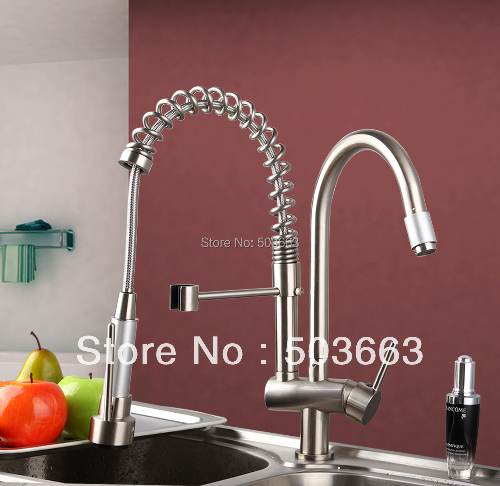 360 Hot Double Handles Free Brass Water Kitchen Faucet Swivel Spout Pull Out Vessel Sink Ceramic Mixer Tap MF-284 Faucet<br><br>Aliexpress