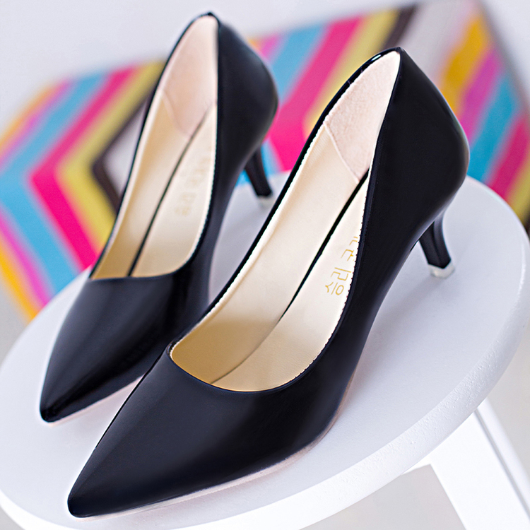 Concise Pointed Toe Women Med Heels Pumps,Comfortable Slip-On Leisure Shoes,Breathable Ladies Office Footwear,Solid Leather Shoe<br><br>Aliexpress
