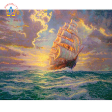 Diamond Embroidery Sea Sailing Ship Painting for Living Room Seascape Pictures Home Decor 5d Diy Diamond Mosaic Full Gear SK465(China)