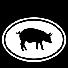 Euro Oval Shape Happy Pig Baby Pig Farmer Car Sticker for SUV Motorcycle Laptop Kayak Car Decor Reflective Vinyl Decal 10 Colors(China)