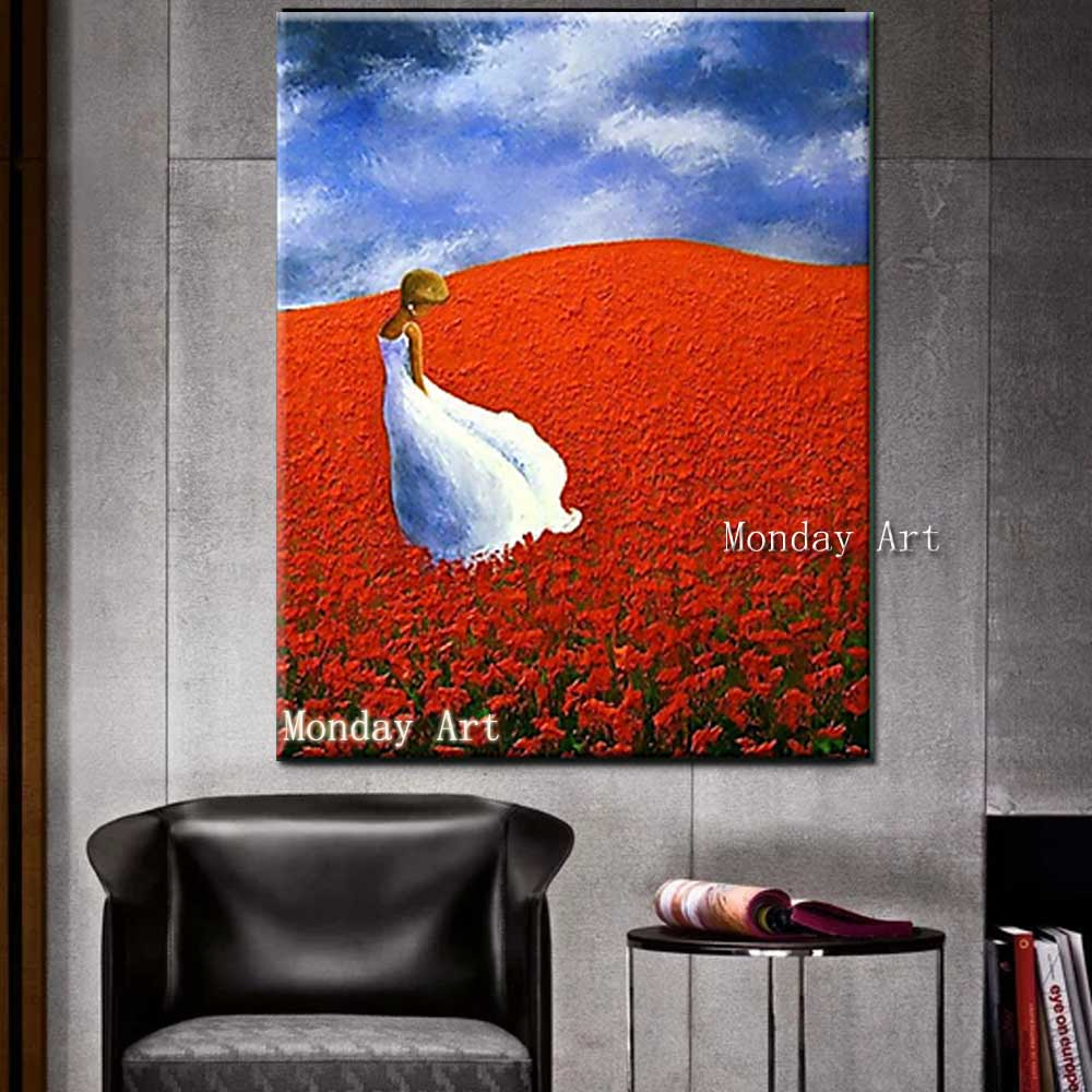 Hand-Painted-Thick-Oil-Flower-Girl-Landscape-Canvas-Oil-Painting-Abstrac-Wall-Art-Picture-Living-Room (1)