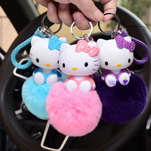 Cartoon Anime Movie Animal Hello Kitty,Lucky Cat, Minions Keychain Fluffy Rabbit Fur Pom Pom Bag Key Chain Ring Holder Pendant(China)
