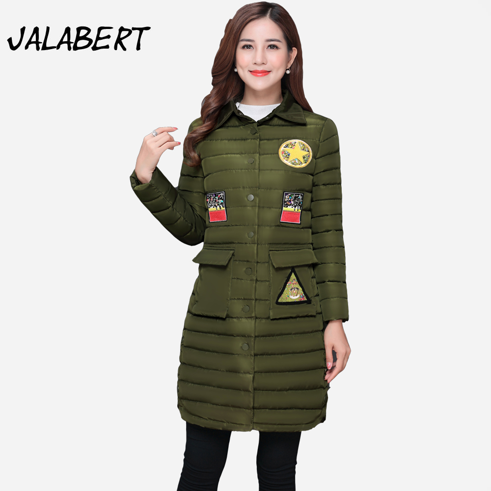 2017 winter new cotton coat womens  long Slim single-breasted long sleeves badge pattern jacket Female fashion warm Parkas  Îäåæäà è àêñåññóàðû<br><br>