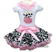 Girls White Shorts Sleeves Pettitop with Light Pink Cow Printed Pettiskirt Tutu with Cute Cow Outfits 2 pcs Set