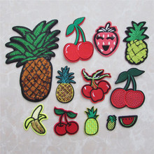 hot sale fashionable fruit patch hot melt adhesive applique embroidery patches stripes DIY clothing accessory patch C610-C2077