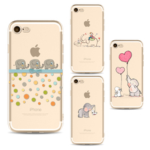 Cute Elephant phone Cases For Iphone 6 6s 6Plus 7 7s 7plus Soft TPU Silicon Ultra-Thin Rabbit love balloon Phone Cover Case(China)