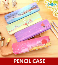 Simple cartoon metal pencil case , iron case metal school pencil box for students(China)