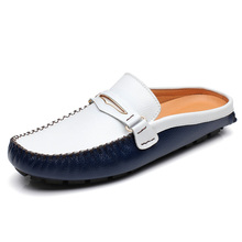 Summer Men Shoes Casual Luxury Brand Mens Penny Loafers Leather Half Slipper  Slip On Italian Driving 9ed120ded8a3