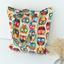 handmade original canvas bag fresh lovely women casual tote owl pattern kids storage school shopping bags