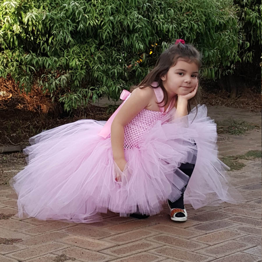 Gorgeous Light Pink Girls Tutu Dress for Photo Shoot Birthday Party Wedding Kids Dress up Costume Pink Fancy Ball Gown (4)