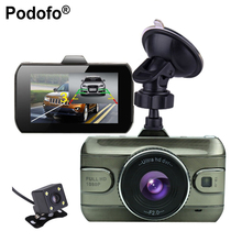 Podofo 2017 New 3 inch Dual Lens Car Dvrs Full HD 1080P Car Dvr Video Recorder Car Camera Dash Cam With Rear View Backup Camera