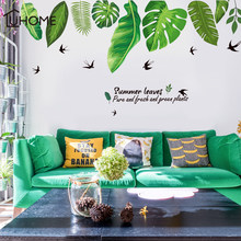 Large 160*80cm/63*31in 3D DIY Green Leaf Black Swallow PVC Wall Decals/Adhesive Family Wall Stickers Mural Art Home Decor(China)