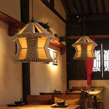 Creative DIY Personality Lantern Pendant Light Vintage Restaurant Lamp Bedroom Dining Room Pendant Lamps Hemp Rope Light E26/E27