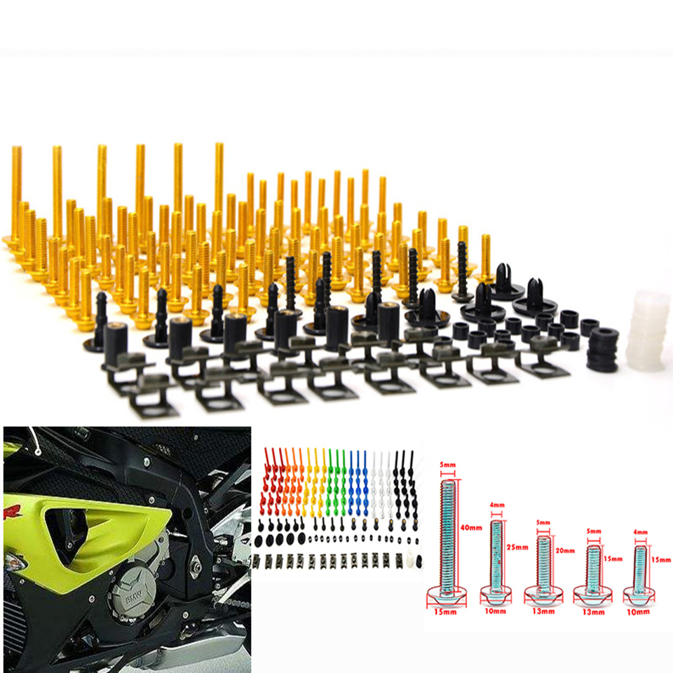 76 PCS Universal Motorcycle Fairing Body Bolts Spire Screw Spring Nuts FOR SUZUKI Burgman 200 400 650 DRZ 70 125 250 JR 50 Z800<br>