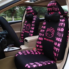 Universal Cartoon Hello Kitty Car Seat Covers for 5seat covers Summer car interior Accessories+steering wheel+headrest
