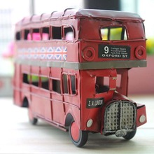 Collectible Retro Classic Car Model Iron Sheet Double Decker Bus Decor Models Vehicle Creative Birthday Gift Tin Toys Collection(China)