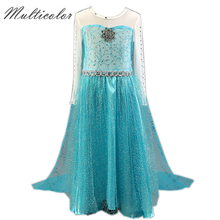 longer Style Anna Elsa Dress Baby Girl Dresses Anna Elsa Girls Lace Dress Party Costume Princess Kids Cartoon Vestidos Gift(China)