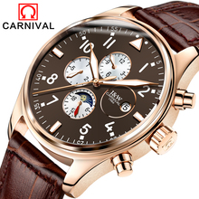Carnival Sapphire Automatic Mechanical Watch Men Stainless steel waterproof brown leather Watch relogio masculine(China)