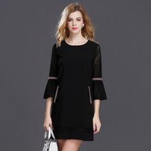 2017 Newest Fashion Women European Spring Autumn Solid Vintage one-piece dress O-Neck Flare Sleeve dress free shipping