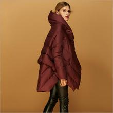 Manufacturers Outlet 2017 new 90% duck down warm jacket women's fashion brand cloak style design clothes feather coat w1148(China)